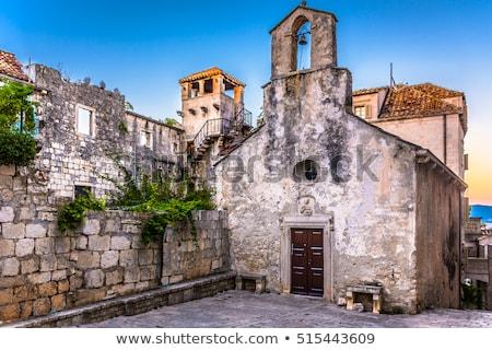város · fő- · tér · kő · templom · építészet · este - stock fotó © xbrchx