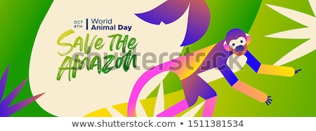 animal day banner amazon forest squirrel monkey stock photo © cienpies
