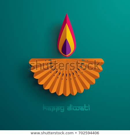 Stock photo: Beautiful Green Diwali Festival Card Concept Design Background