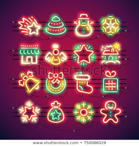 Christmas snowman neon kartkę z życzeniami wektora Zdjęcia stock © Voysla