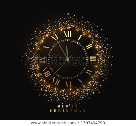 2020 New Year shiny gold clock, five minutes to midnight. Merry Christmas. Vector illustration. Stock photo © ikopylov