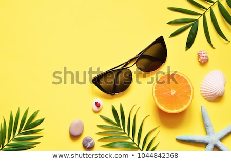 Yellow background with shells and starfish Stock photo © bluering