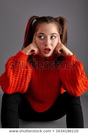 Portret nastolatek dziewczyna czerwony smutne Zdjęcia stock © LoopAll