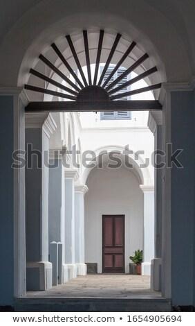 Kolostor sziget Santorini Görögország absztrakt ajtó Stock fotó © feverpitch