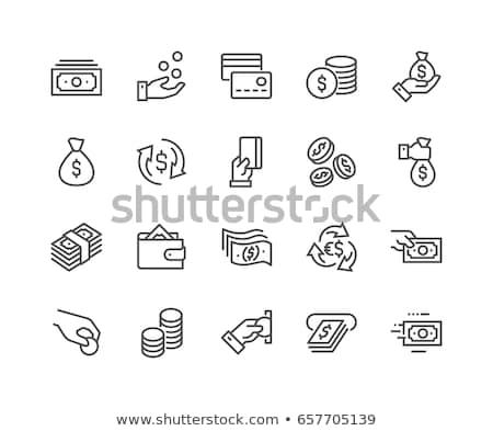 Moeda troca os ícones do web papel adesivos Foto stock © ayaxmr