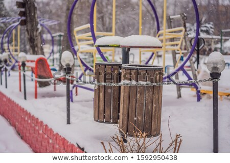 Prullenbak dag dak sneeuw hemel landschap Stockfoto © galitskaya