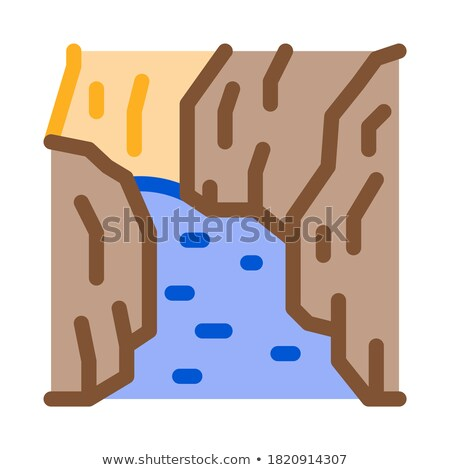 flowing river among different types of trees icon vector outline illustration Stock photo © pikepicture