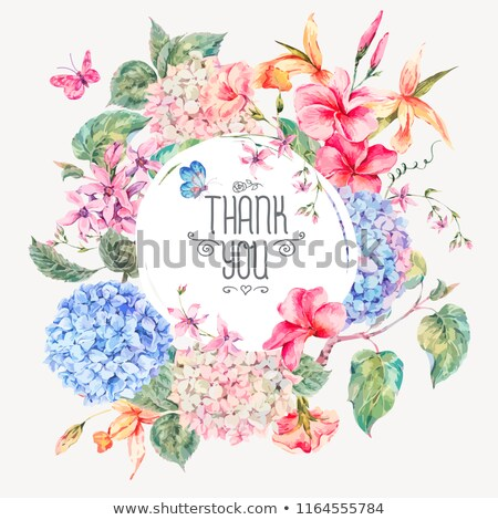 Frame bouquet of orchids and butterfly, botanical natural igreeting card in watercolor. Vector Stock photo © Andrei_
