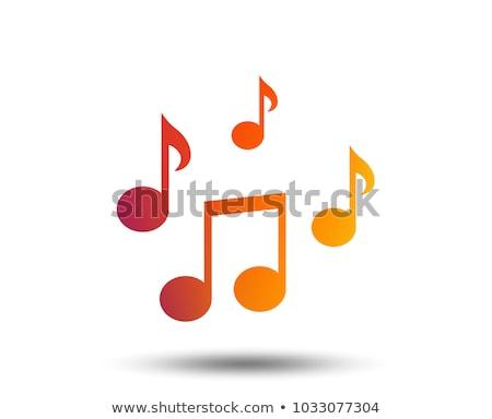 musique · ligne · icônes · orange · stock · vecteur - photo stock © cidepix