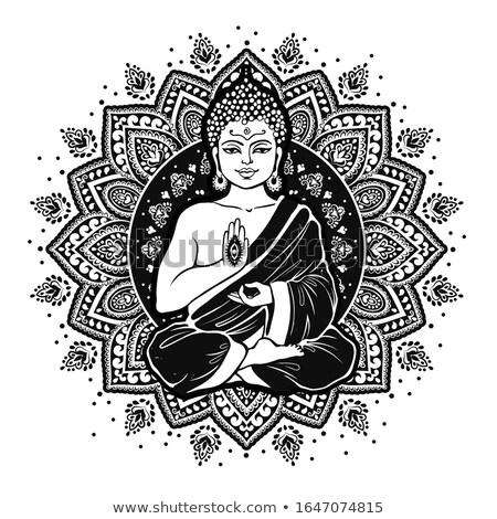 Buddha vreedzaam witte meditatie water kleuren Stockfoto © Elenarts