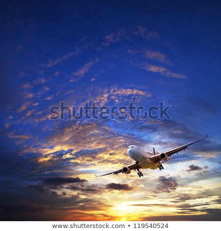 Jet plane in a sunset sky. Square composition. Stock photo © moses