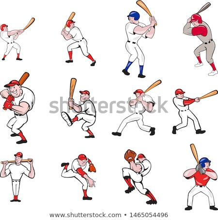 Cartoon Baseball Player Batting Vector Design Stock photo © chromaco