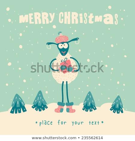 Foto stock: Natal · cartão · eps · vetor · arquivo · inverno