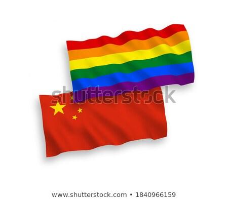 świecie · banderą · Chiny · niebieski · odizolowany · biały - zdjęcia stock © tony4urban