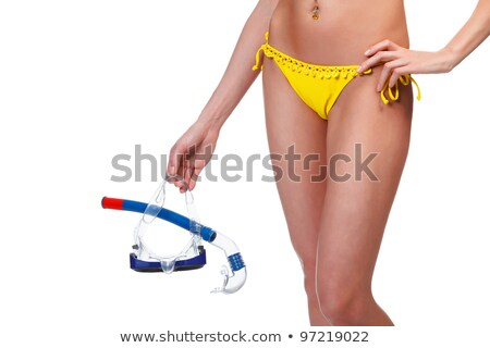 woman with goggles and snorkel posing against white background stock photo © nobilior