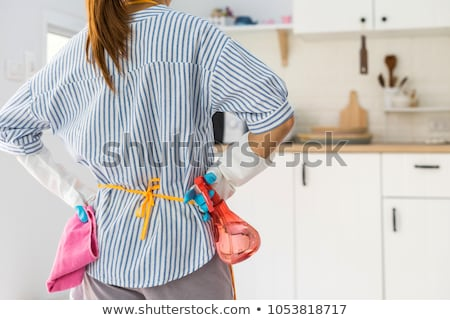 Vervelen werkster portret vrouw humoristisch plastic Stockfoto © smithore
