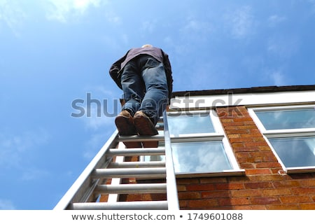 Roofer showing tile on white background Stock photo © photography33