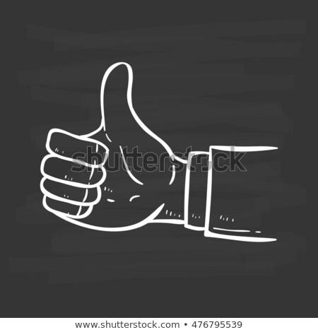 Krijttekening duim omhoog teken Blackboard man Stockfoto © bbbar