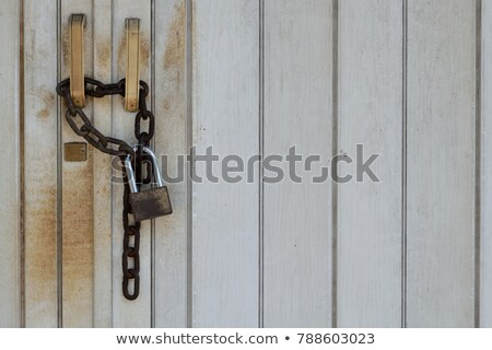 The padlock locking the wooden door  Stock photo © inxti