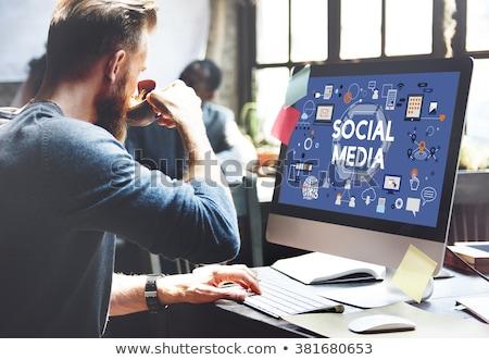 компьютер СМИ рабочая станция ораторов контроля видео Сток-фото © filmstroem
