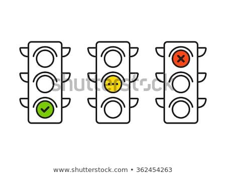 красный светофора икона остановки Сток-фото © Myvector