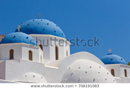 varanda · santorini · Grécia · ver · vulcão · branco - foto stock © elinamanninen