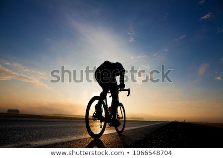 サイクリング シルエット 黒白 異なる 角度 ストックフォト © koqcreative