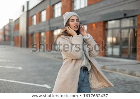 femme · rouge · laine · chandail · visage - photo stock © photography33