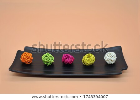 Wooden natural interior decorative wicker balls Stock photo © HASLOO