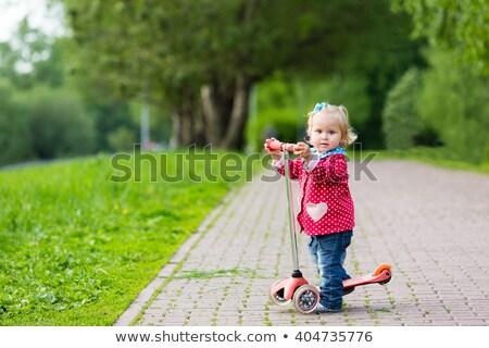 かわいい · 女の子 · スクーター · 公園 · 美しい - ストックフォト © travnikovstudio