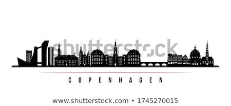 Копенгаген Skyline город дизайна моста черный Сток-фото © compuinfoto
