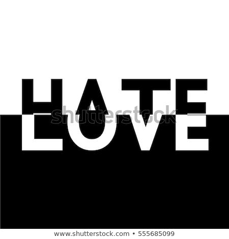 Sevmek nefret kalp boyalı duvar kırmızı Stok fotoğraf © iofoto