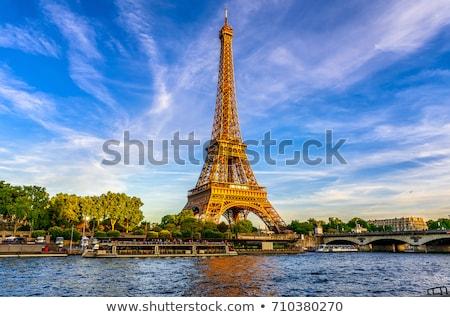 Paris Eyfel Kulesi bayrak Fransa metin şehir Stok fotoğraf © angusgrafico