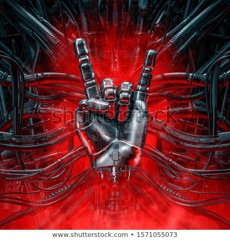 赤 悪魔 手 重金属 ジェスチャー ストックフォト © Elisanth