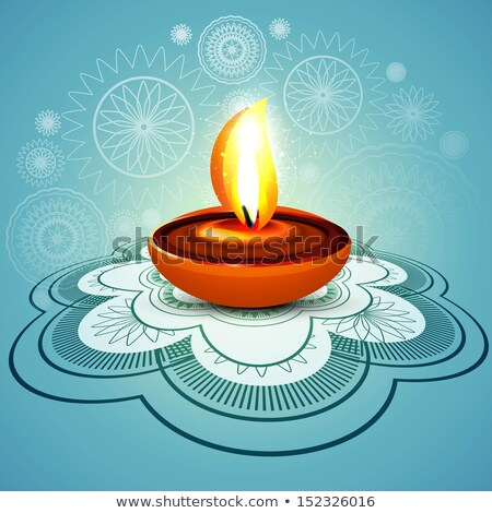beautiful stylish rangoli happy diwali blue colorful hindu diya stock photo © bharat