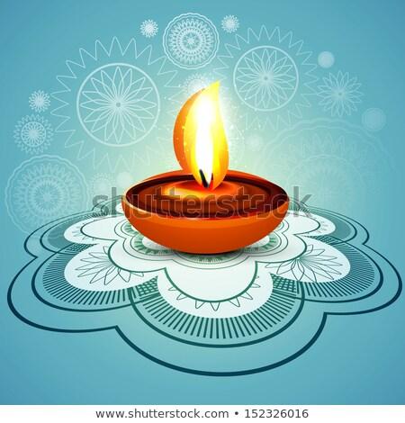 Beautiful stylish rangoli happy diwali blue colorful hindu diya  Stock photo © bharat
