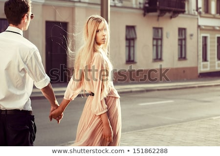 Portret namiętny młodych moda para stałego Zdjęcia stock © feedough