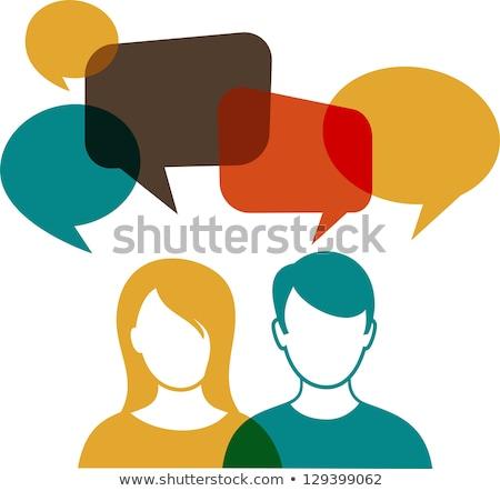 man and woman speech balloon stock photo © burakowski