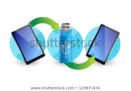 Computer Flash Drive Around Two Tablets Illustration Design Over Photo stock © alexmillos