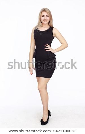 gyönyörű · szőke · nő · lány · visel · fekete · mini - stock fotó © neonshot