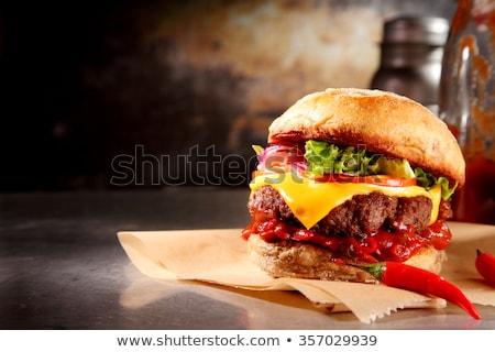 辛い ハンバーガー キノコ 食品 サラダ ストックフォト © andreasberheide