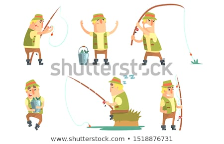 man fishing with spinning stock photo © mikko