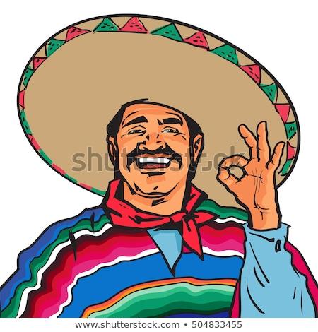 Mexican uomini illustrazione felice deserto silhouette Foto d'archivio © adrenalina