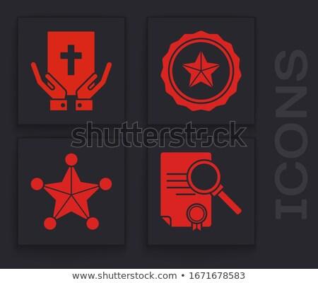 Lojalność lupą starego papieru czerwony pionowy line Zdjęcia stock © tashatuvango