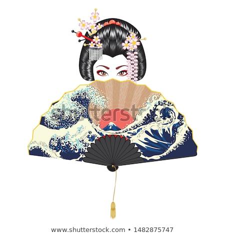 tradicional · gueixa · silhueta · ilustração · flores · pôr · do · sol - foto stock © adrenalina