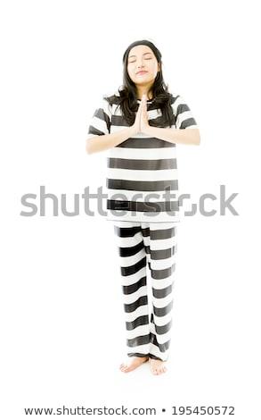Jovem asiático mulher em pé oração posição Foto stock © bmonteny