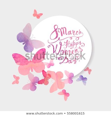 Kelebek kart soyut kâğıt düğün dizayn Stok fotoğraf © auimeesri