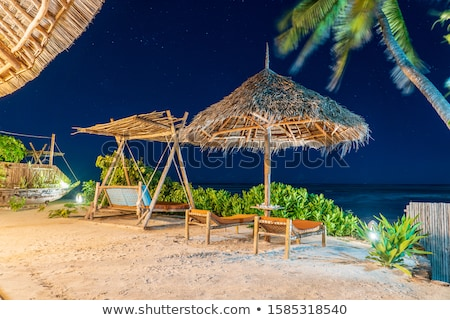 Beds and Straw Umbrellas On A Beach At Night  Stock photo © Kuzeytac