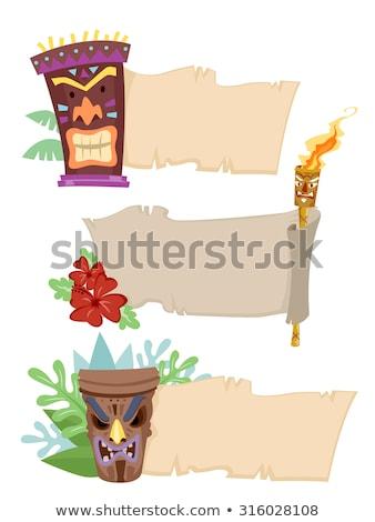 Zseblámpa szalag illusztráció papír tűz trópusi Stock fotó © lenm