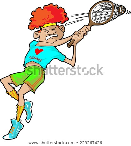A tennis player intently hits the ball back. Stock photo © Norberthos